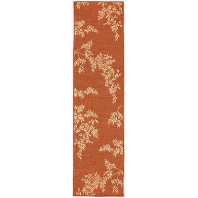 Aldreda Terracotta Vine Indoor/Outdoor Area Rug Rug Size: Runner 111 x 76