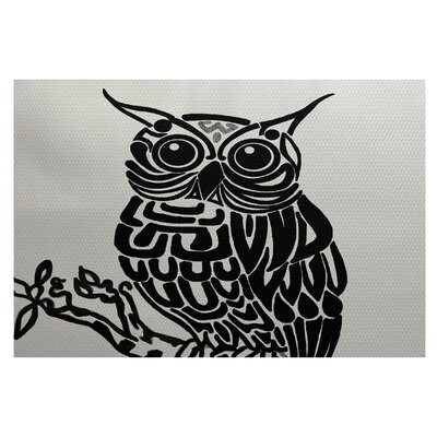 Jaqueline Bird Print Off White - Black Indoor/Outdoor Area Rug Rug Size: Rectangle 3 x 5