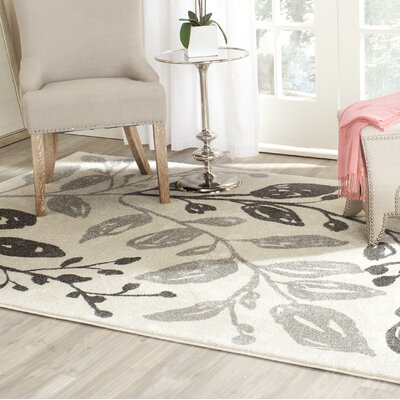 Rosario Ivory/Gray Area Rug Rug Size: Rectangle 4 x 57