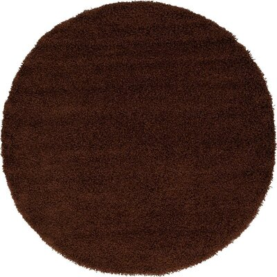 Lilah Solid Shag Brown Area Rug Rug Size: Round 6