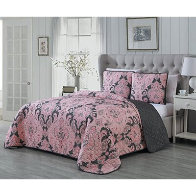 Selway 3 Piece Quilt Set Color: Pink, Size: King