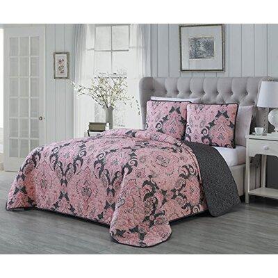 Selway 3 Piece Quilt Set Color: Pink, Size: Queen