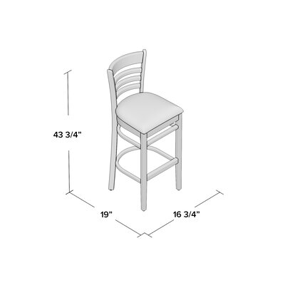 Lyman 29.5 Bar Stool (Set of 2) Color: Natural, Upholstery: Black Vinyl