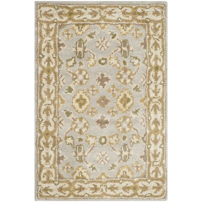 Albertine Hand-Tufted Wool Light Blue/Ivory Area Rug Rug Size: Rectangle 4 x 6
