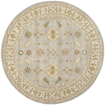 Albertine Hand-Tufted Wool Light Blue/Ivory Area Rug Rug Size: Round 6