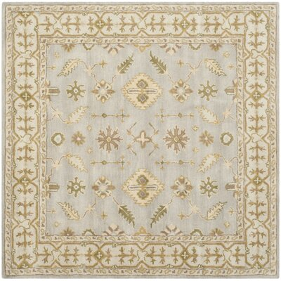 Albertine Hand-Tufted Wool Light Blue/Ivory Area Rug Rug Size: Square 6