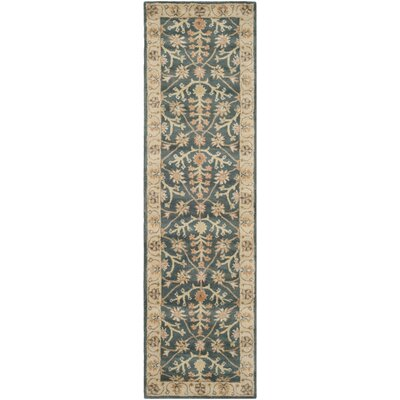Albertine Blue / Light Gold Area Rug Rug Size: Runner 23 x 8