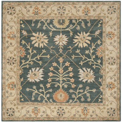 Albertine Blue / Light Gold Area Rug Rug Size: Square 6