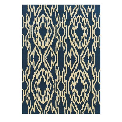 Savanah Hand-Tufted Blue/Ivory Outdoor Area Rug Rug Size: Rectangle 5 x 7
