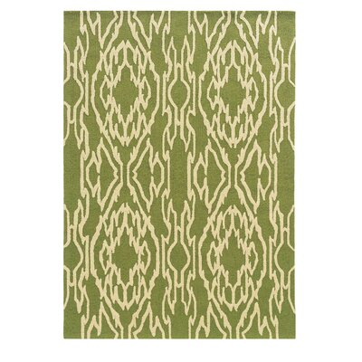 Elenora Hand-Tufted Green/Ivory Outdoor Area Rug Rug Size: 5 x 7