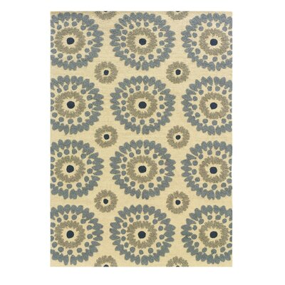 Savanah Hand-Tufted Ivory/Blue Outdoor Area Rug Rug Size: Rectangle 5 x 7