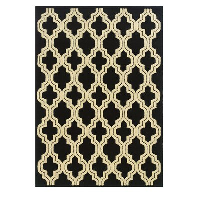 Evelyn Hand-Tufted Black/Ivory Outdoor Area Rug Rug Size: 5 x 7