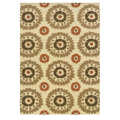 Savanah Hand-Tufted Ivory/Brown Outdoor Area Rug Rug Size: 5 x 7