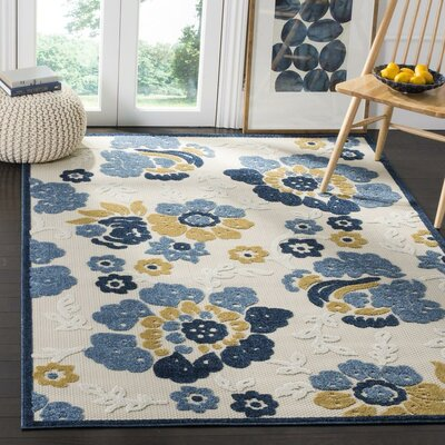Ennis Ivory/Blue Indoor/Outdoor Area Rug Rug Size: Rectangle 53 x 77