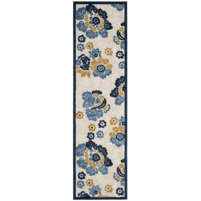 Ennis Ivory/Blue Indoor/Outdoor Area Rug Rug Size: Runner 23 x 8