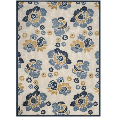Ennis Ivory/Blue Indoor/Outdoor Area Rug Rug Size: 8 x 112
