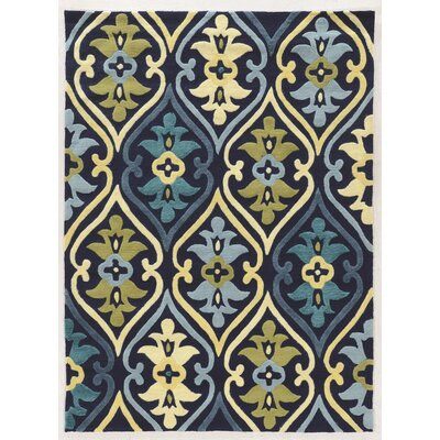 Savanah Damask Hand-Tufted Blue/Green Outdoor Area Rug Rug Size: Rectangle 5 x 7