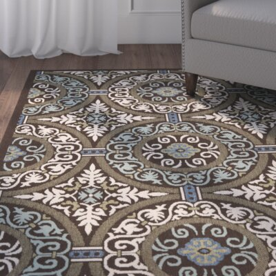 Tierney Chocolate/Cream Indoor/Outdoor Area Rug