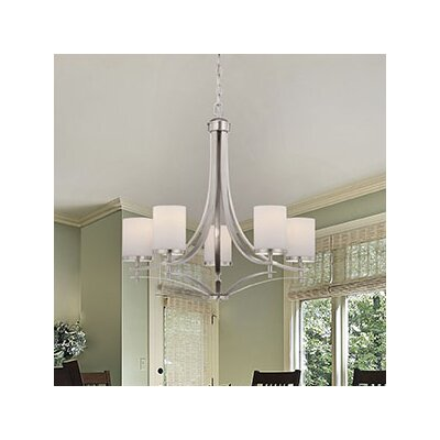 Agnes 5-Light Shaded Chandelier Finish: Satin Nickel