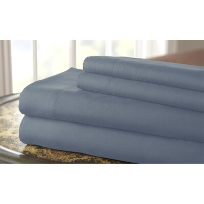 Gaston Microfiber Embroidered Sheet Set Size: King, Color: Faded Denim