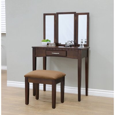 Sibilla Vanity Set with Mirror Finish: Espresso