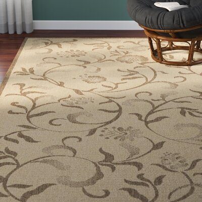 Swirling Garden Creme / Brown Area Rug Rug Size: Rectangle 27 x 5
