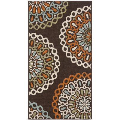 Tierney Brown/Orange Indoor/Outdoor Area Rug Rug Size: Rectangle 2'3