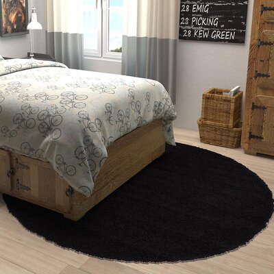 Lilah Black Area Rug Rug Size: Round 6'
