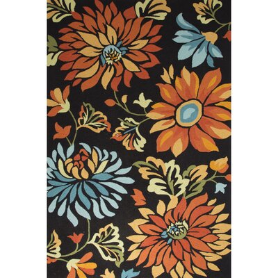 Wilsonville Hand-Tufted Black/Orange Area Rug Rug Size: 5 x 76