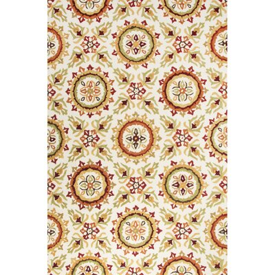Bellbrook Hand-Tufted Contemporary Ivory/Orange Area Rug Rug Size: 76 x 96