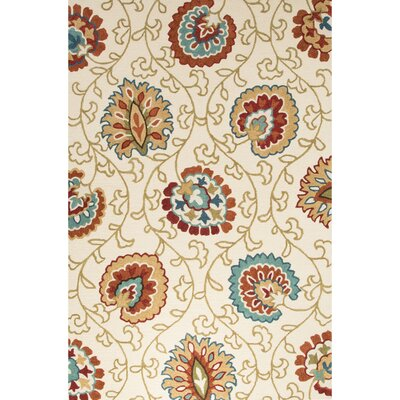 Bellbrook Hand-Tufted Ivory/Orange Area Rug Rug Size: 2 x 3