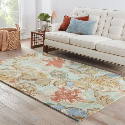 Willette Aqua Foam Floral Area Rug Rug Size: 36 x 56
