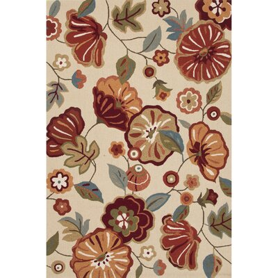 Kaela Polyester Hand Tufted Ivory/Red Area Rug Rug Size: 5 x 76