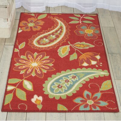 Sharan Rectangle Red Area Rug