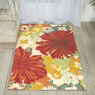 Crawfordsville Red/Ivory Area Rug