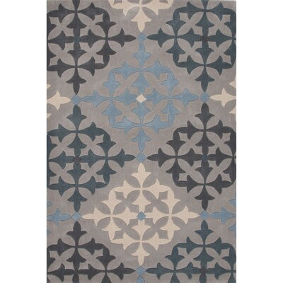 Chaya Polyester Gray/Blue Hand Tufted Area Rug Rug Size: 76 x 96