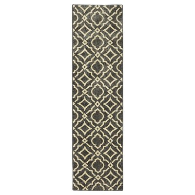 Beedle Carved Tile Denim Slate/Cream Area Rug