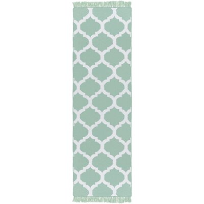 Derby Hand-Woven Green Outdoor Area Rug Rug Size: Runner 26 x 8