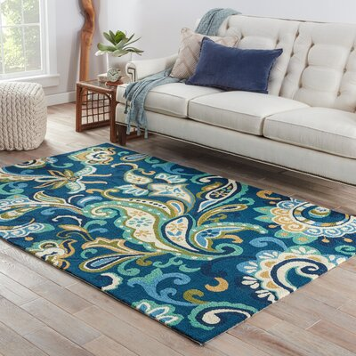 Sardinia Blue/Yellow Floral Indoor/Outdoor Area Rug Rug Size: 9 x 12