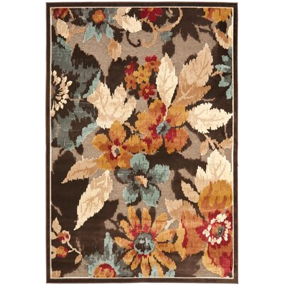 Gordon Dark Brown Area Rug Rug Size: 53 x 76