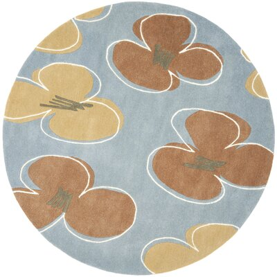 Armstrong  Hand-Tufted Blue Area Rug Rug Size: Round 6