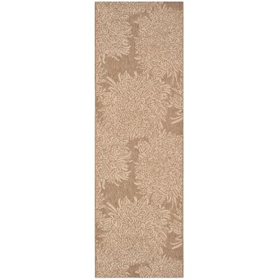 Chrysanthemum Beige/Brown Outdoor Area Rug Rug Size: Runner 27 x 82