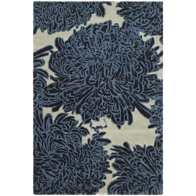 Chrysanthemum Tufted-Hand-Loomed Beige/Blue Area Rug Rug Size: 4 x 6
