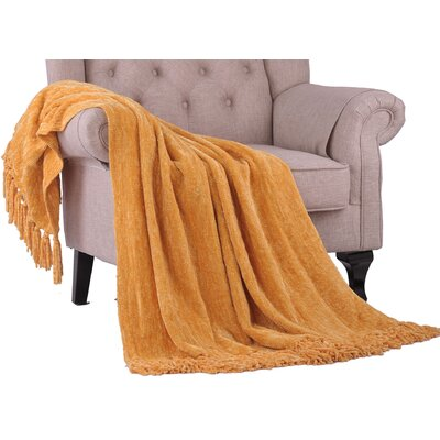 Khloe Knitted Throw Color: Primrose Yellow, Size: 60 L x 50 W