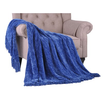 Khloe Knitted Throw Color: Lapis Blue, Size: 80 L x 60 W