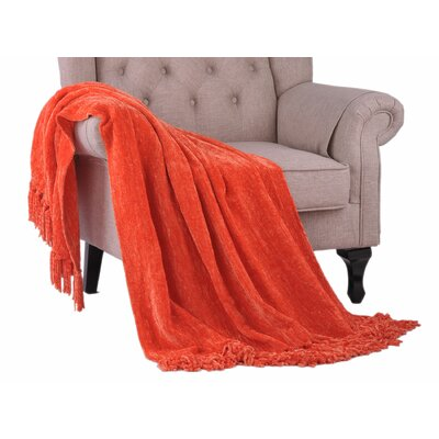 Khloe Knitted Throw Color: Flame, Size: 80 L x 60 W
