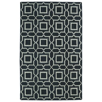 Christien Black Geometric Area Rug Rug Size: 36 x 56