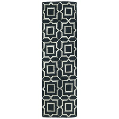 Christien Black Geometric Area Rug Rug Size: Runner 26 x 8