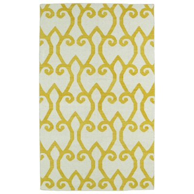 Woodbine Yellow/Ivory Geometric Area Rug Rug Size: 36 x 56