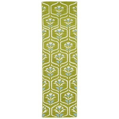 Gillespie Green Geometric Area Rug Rug Size: Runner 26 x 8